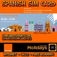 ORANGE HOLIDAYS SPAIN SPANISH SIM CARD PREPAID 50 MINUTES 30 GB INTERNET 4G+