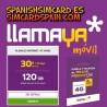 """LLAMAYA SPANIEN PREPAID SPANISH SIM CARD 120 GB INTERNET """"PLANAZO INTERNET EN CASA"""""""
