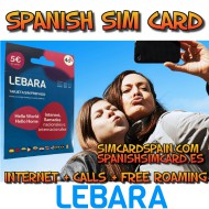 LEBARA MOBILE SPANISH PREPAID SIM CARD INTERNET 4G+ AND CALLS FOR SPAIN