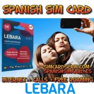 LEBARA MOBILE SPANISH PREPAID SIM CARD INTERNET 4G+ AND CALLS FOR SPAIN